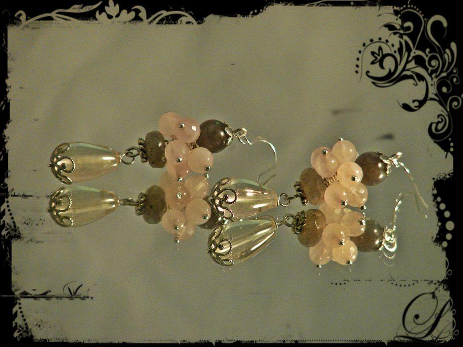 """Серьги из натуральных камней авторской работы """"di vita rosa"""""""
